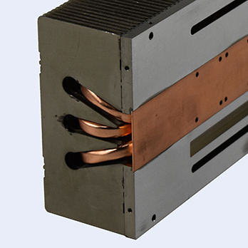 aluminum stamped fin heat sink with heat pipe