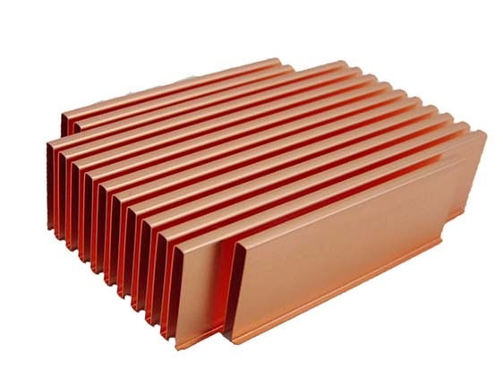 china copper folded fin heat sink
